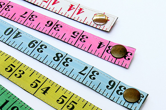 upcycled measuring tape bracelets sewn handmade upcycled recycled repurposed